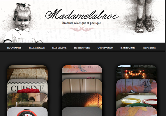 Conception et réalisation du site vitrine de la boutique de brocante Madamelabroc.