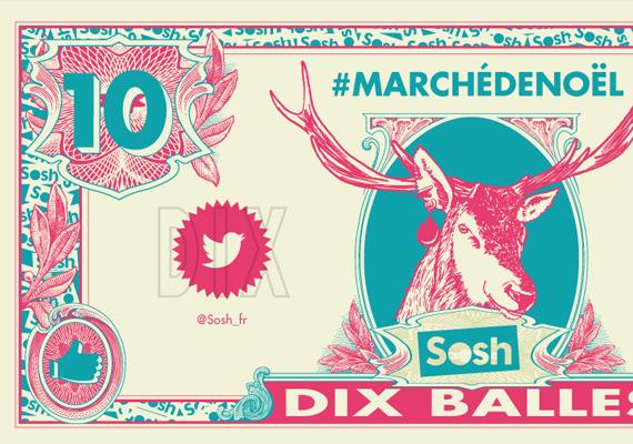 Conception et réalisation de divers supports pour l'évènement Sosh (Money Sosh, carte de fidélité, bâche, tampon, affiche signalétique…).