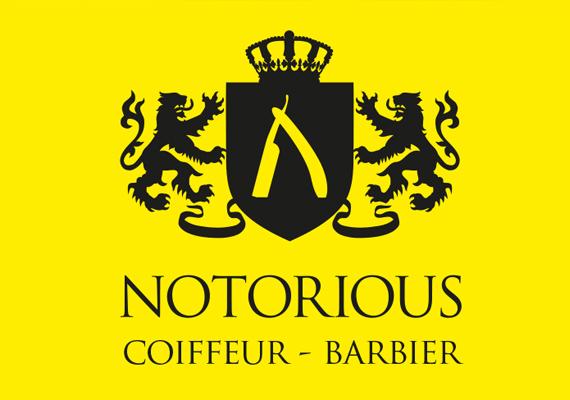 Création de l'identité visuelle du salon de coiffure/barbier Notorious, situé à Pontoise.